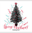 hand drawn christmas card new year tree with vector image vector image