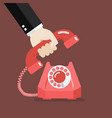 hand picking up phone vector image vector image