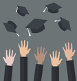 Hands of graduates throwing graduation hats in the vector image