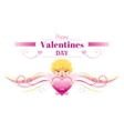 Happy Valentines day border Cupid character heart vector image vector image
