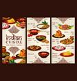 indian cuisine menu asian restaurant food price vector image vector image