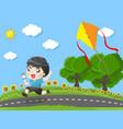 kid running kites in garden vector image