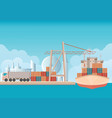 loading containers on a sea freight cargo ship vector image