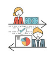 professional businesspeople with company strategy vector image
