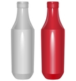 Red and white plastic template bottle for ketchup vector image vector image