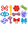 set color cartoon bows and ribbons of vector image