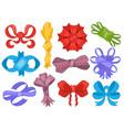 set color cartoon bows and ribbons vector image vector image