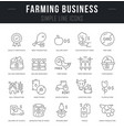 set line icons farming business vector image