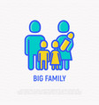 silhouette of big family with three children vector image vector image