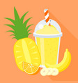 smoothie with fruits vector image vector image