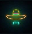 sombrero and mustache glowing neon sign vector image
