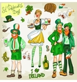 St Patricks Day - hand drawn clip art collection vector image vector image