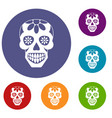 sugar skull flowers on the skull icons set vector image vector image