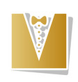 tuxedo with bow silhouette golden vector image