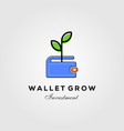 wallet leaf sprout money grow investment logo vector image