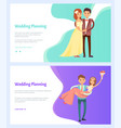 wedding planning man and woman bouquet flowers vector image vector image
