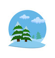 winter landscape with silhouettes of firs vector image vector image