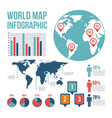world map pointer differents country infographic vector image