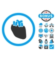 Heart Organ Flat Icon with Bonus vector image
