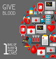 1 bag of blood saves 3 lives background with vector image vector image