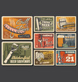 beer alcohol drink retro posters pub or brewery vector image vector image