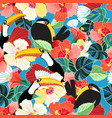 bright tropical seamless pattern of toucans vector image vector image