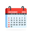 calendar for 2018 year full month december icon vector image vector image
