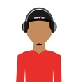 casual young man with headphone isolated icon vector image