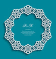 circle frame with cutout lace border pattern vector image vector image