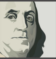 close up view of ben franklin vector image