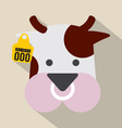 Cute Cow Head With Ear Tag vector image