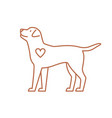 cute dog with heart flat in vector image