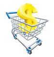 dollar money trolley concept vector image vector image