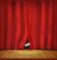 eyes behind red curtains on wood stage vector image vector image