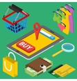 Flat 3d isometric online store e-commerce web vector image