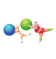 funny santa and reindeer doing sport vector image vector image