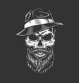 gangster skull in fedora hat vector image vector image