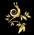 golden snail on bamboo leaves vector image vector image