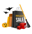 halloween shopping paper bags and pumpkin vector image vector image