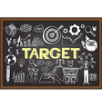 Hand drawn target on chalkboard vector image vector image