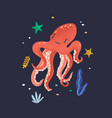 happy octopus isolated on dark background lovely vector image