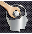 human head and a wrench with a nut vector image vector image