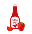 ketchup bottle with tomatoes chilli pepper vector image vector image