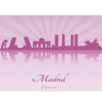 Madrid skyline in purple radiant orchid vector image vector image