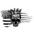 monochromatic skull and flag usa vector image vector image