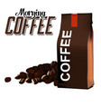morning coffee coffee bean coffee bag white backgr vector image vector image