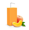 peach juice carton cardboard box pack vector image vector image