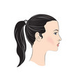 pretty girl profile young woman face portrait vector image vector image