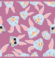 rabbit head pattern hare background ornament face vector image