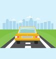 road with yellow car and city landscape background vector image